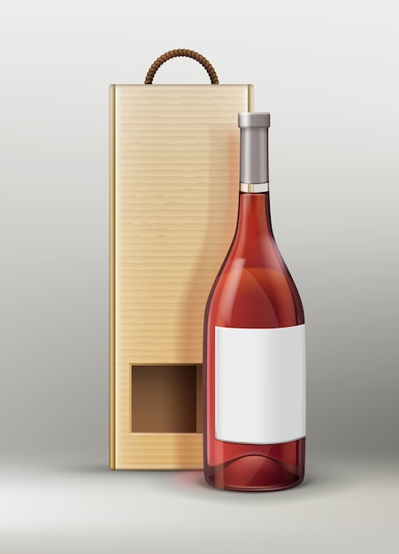 Vector bottle for wine or champagne with craft paper packaging on gray background Free Vector
