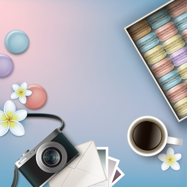 Vector box of colorful french macarons with coffee, plumeria flowers, photo camera, envelope and cards on pink blue background top view Premium Vector
