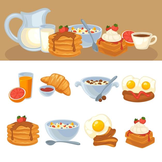 Vector breakfast food set Premium Vector