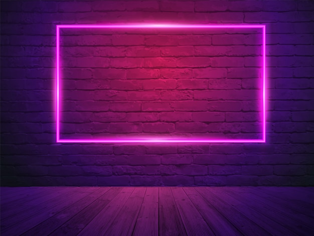 Vector brick wall room background Premium Vector