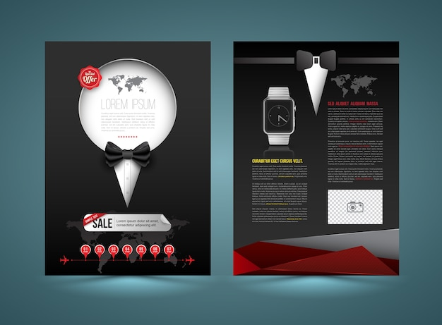 Vector brochure template design tuxedo style Premium Vector