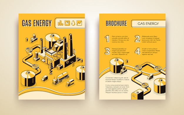 Vector brochure template with 3d isometric gas energy plant Free Vector