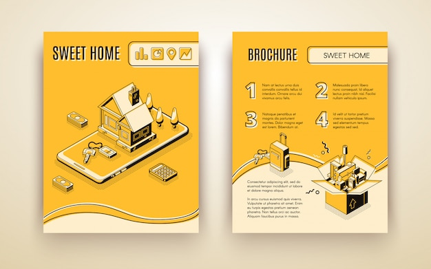 Vector brochure template with 3d isometric house moving - travelling by smart technologies Free Vector