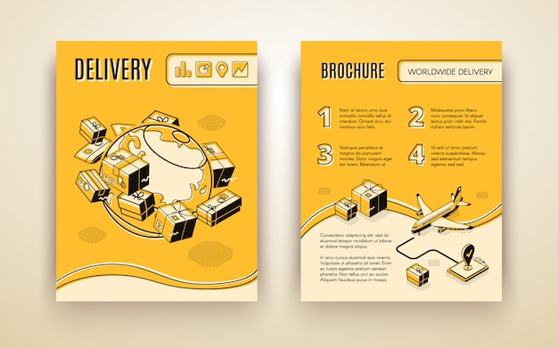 Vector brochure template for worldwide shipping, air delivery Free Vector