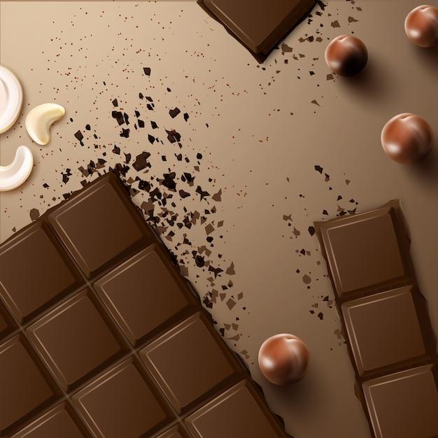 Вектор сломанный темный горький шоколадный батончик с кешью и орехами макадамия сверху на бежевой поверхности Premium векторы