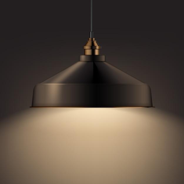 벡터 청동 빛나는 샹들리에 램프 전면, 측면보기 어두운 배경에 가까이 무료 벡터