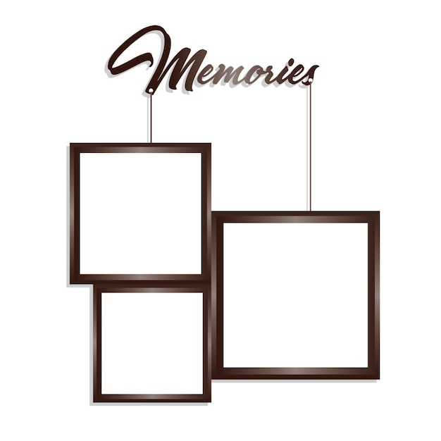 Vector Brown and White Hanging Rectangle Frames Vector | Premium ...