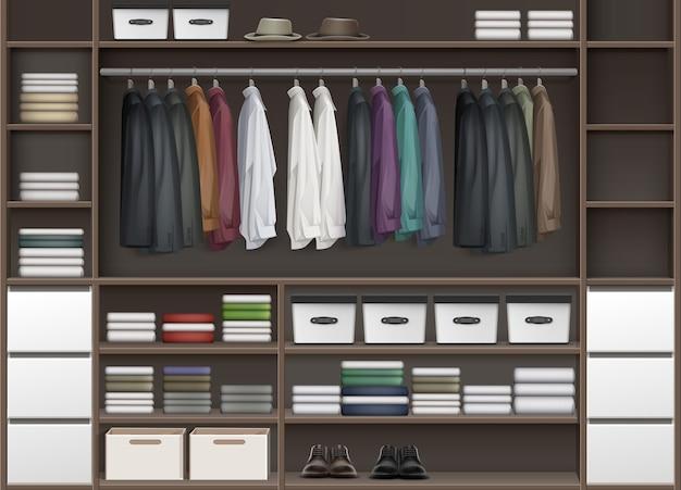 상자와 옷 셔츠, 부츠, 신발 및 모자 전면보기로 가득 찬 선반이있는 벡터 갈색 휴대품 보관소 옷장 무료 벡터