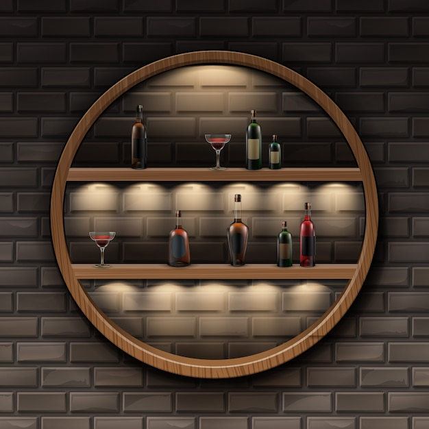 Vector brown round wooden shelves with backlights and glass bottles of alcohol isolated on dark brick wall Free Vector