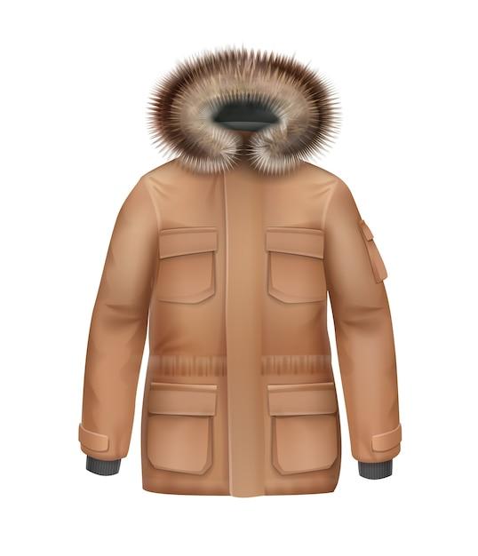 白い背景で隔離の毛皮のフード正面図とベクトル茶色のスポーツ冬のコート 無料ベクター
