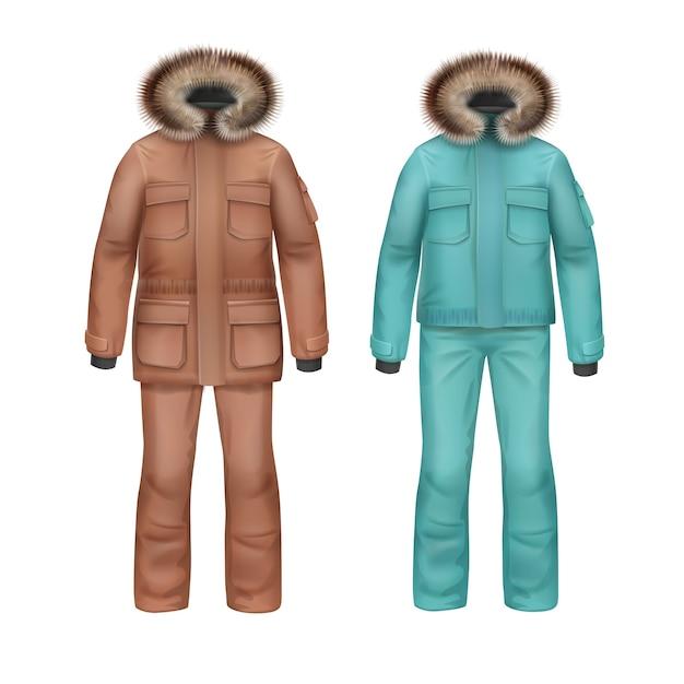 Cappotto invernale di sport marrone e turchese di vettore con cappuccio in pelliccia e pantaloni vista frontale isolato su priorità bassa bianca Vettore gratuito