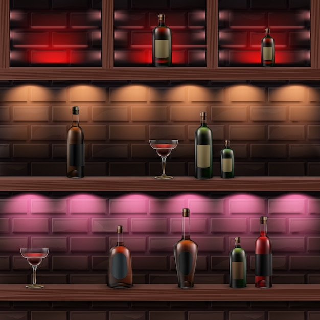 Vector brown wooden shelves with red, orange, pink backlights and glass bottles of alcohol isolated on dark brick wall Free Vector