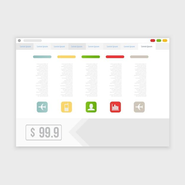 Векторный дизайн браузера с отзывчивым сайтом Бесплатные векторы