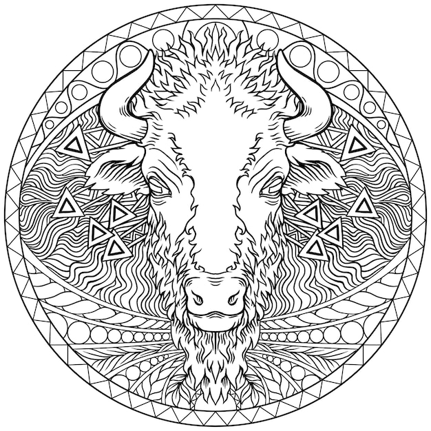Vector of a buffalo head design. wild animals Premium Vector