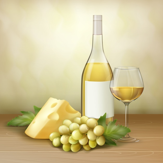 Vector bunch of white grape, bottle and glass of wine with cheese on wood table. Free Vector