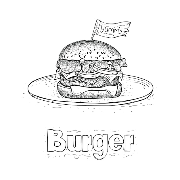 Vector of burger on plate, hand drawn food illustration Premium Vector