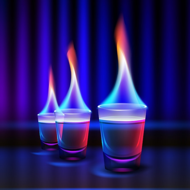 Vector burning cocktail shots with colored fire and blue, red backlight isolated on blur dark illuminated background Free Vector