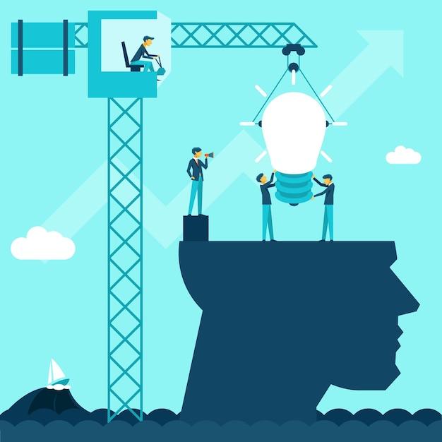 Idea imprenditoriale vettoriale. gli uomini d'affari dell'illustrazione stabiliscono la lampadina di usando una testa della gru Vettore gratuito