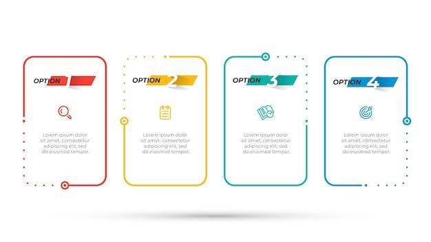 マーケティングアイコンと番号のオプションを持つベクトルビジネスインフォグラフィックデザインテンプレート。 4つのステップを持つタイムラインプロセス要素。 Premiumベクター