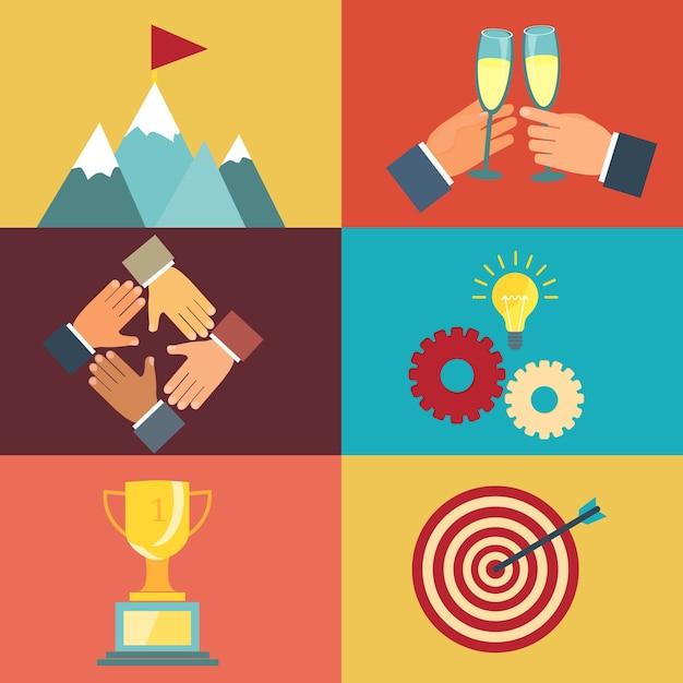 현대 평면 스타일의 성공을 위해 노력하는 것에 대한 벡터 비즈니스 리더십 삽화 무료 벡터