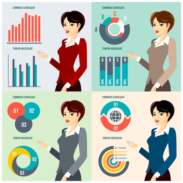 Vector business woman presenting business progress with diagrams and charts Free Vector