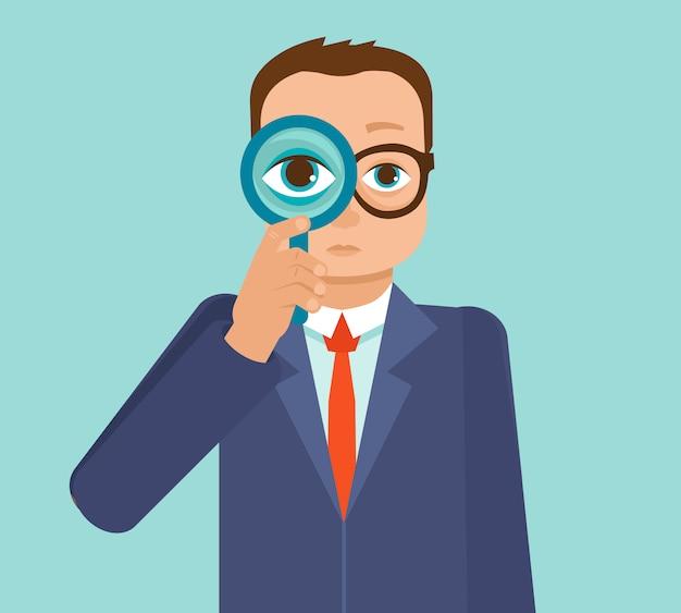 Vector businessman looking for future trends Premium Vector
