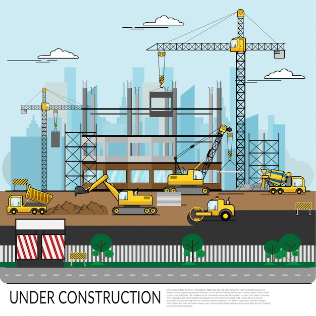 Vector of busy construction site with workers Premium Vector