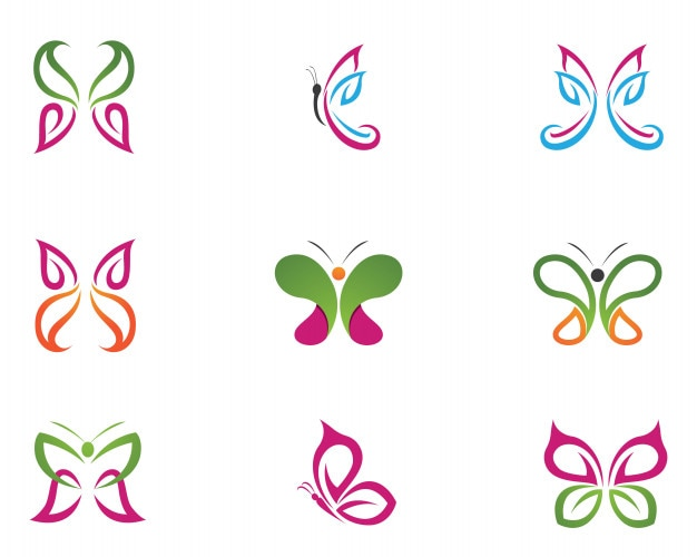 vector butterfly conceptual simple colorful icon logo