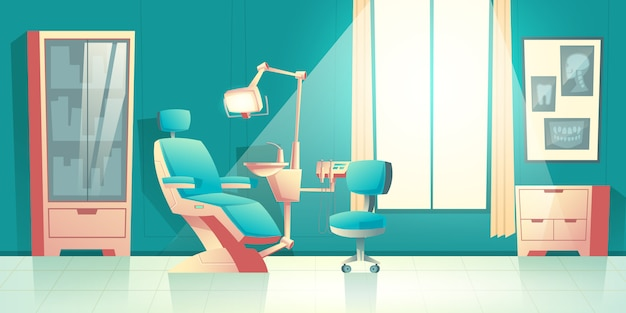 Vector cabinet of dentist, cartoon interior with comfortable chair Free Vector