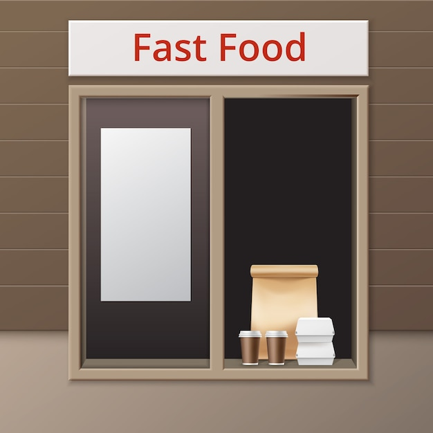Vector cafe take away window with handle lunch bag carton hamburger classic burger containers and brown paper cardboard cups for coffee Free Vector