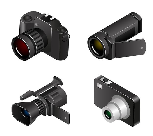 Вектор камеры. фото и видео в 3d реалистичном стиле. фотоаппараты и медиа, видеокамеры и оборудование Premium векторы
