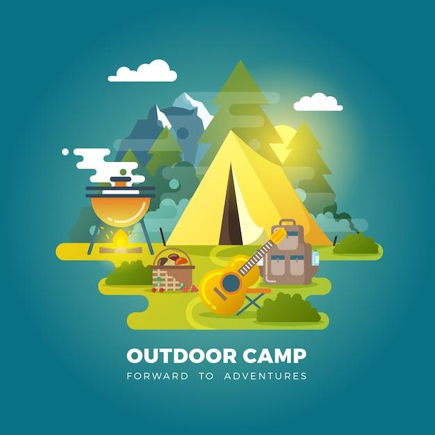 Вектор кемпинг фон с туристической палаткой. кемпинг на открытом воздухе, туристический лагерь, туристический лагерь с иллюстрацией палатки Бесплатные векторы