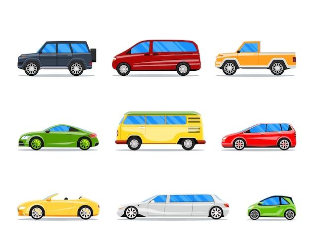 フラットスタイルで設定されたベクトル車。ジープとカブリオ、リムジンとハッチバック、バンとセダンのイラスト 無料ベクター