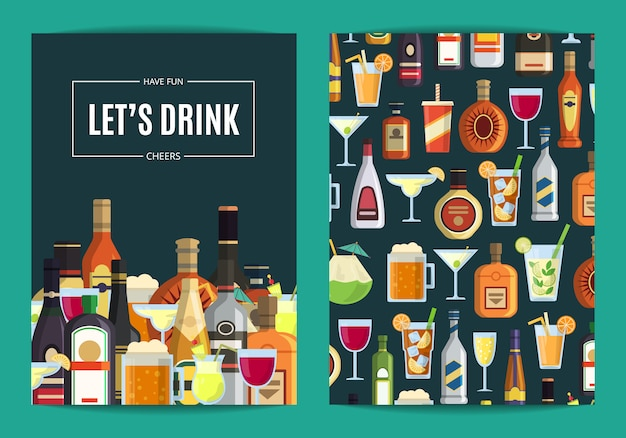 Vector card, flyer template for bar, pub or liquor store with alcoholic drinks in glasses and bottles. whiskey and beverage alcohol illustration Premium Vector