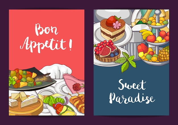 Vector card or flyer templates with hand drawn restaurant or room service elements and place for text illustration Premium Vector