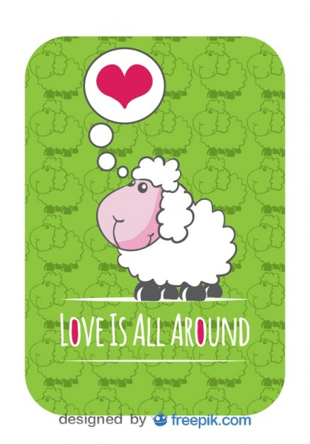Sheep Vector Image Vector Card With Cute Sheep