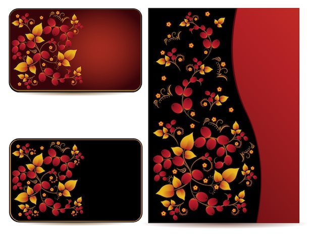 Vector cards and folder with hohloma pattern.\ Cards and folders with ornament in style of Russian national\ tradition.