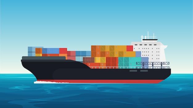 Вектор грузовой корабль с контейнерами в океане. доставка, транспортировка, отгрузка грузовые перевозки Premium векторы