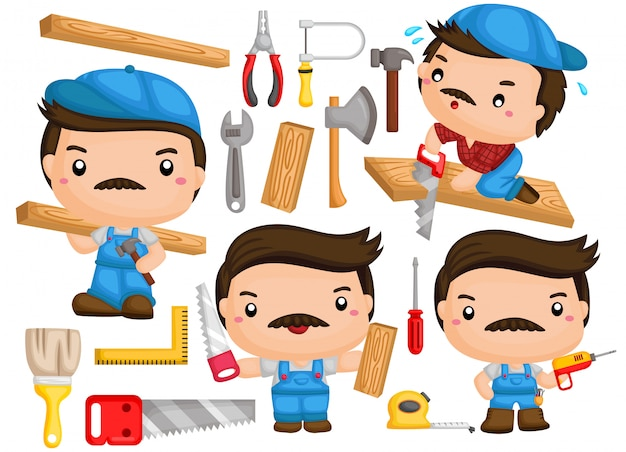 A vector of a carpenter with many poses and tools Premium Vector