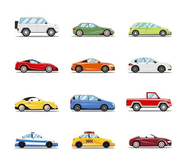 벡터 자동차 컬렉션입니다. 플랫 스타일의 차량 무료 벡터