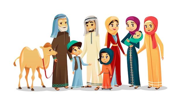Vector cartoon arab family characters, camel set Premium Vector