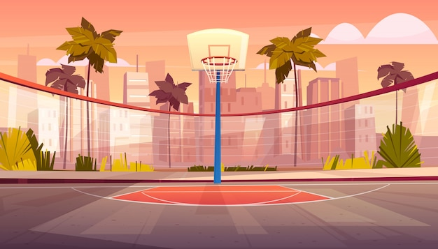 Vector cartoon background of basketball court in tropic city Free Vector