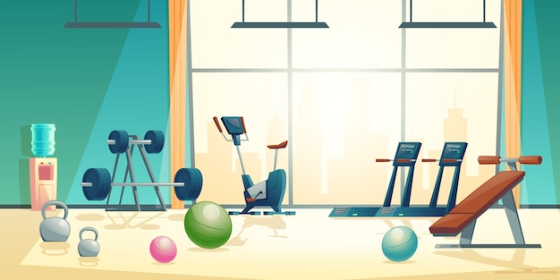 Vector cartoon background of gym with big window vector free