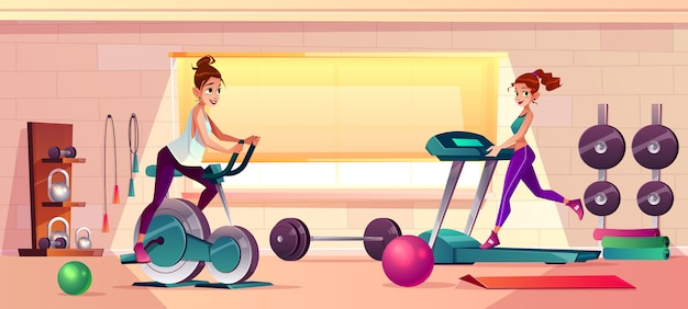 Vector cartoon background of gym with girls doing fitness Free Vector