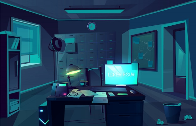 Vector cartoon background of overtime in police department or private detective. night, dark room with desk, computer and chair for client. interior of cabinet for investigation. moonlight from window Free Vector