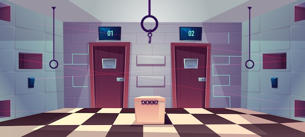 Vector cartoon background of quest room with closed doors Free Vector