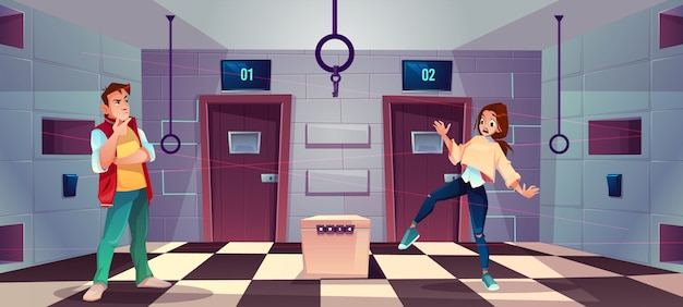 Vector cartoon background of quest room with people Free Vector