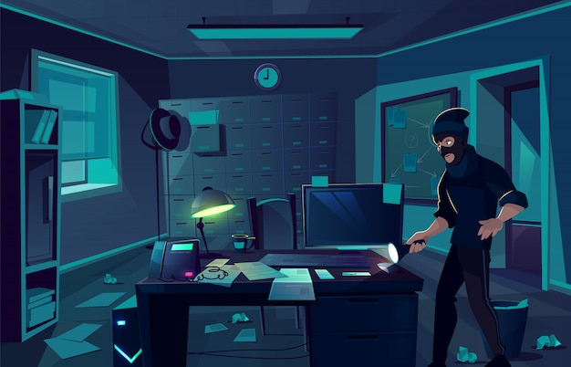 Vector cartoon background of robbery in police department or cabinet of private detective. Free Vector