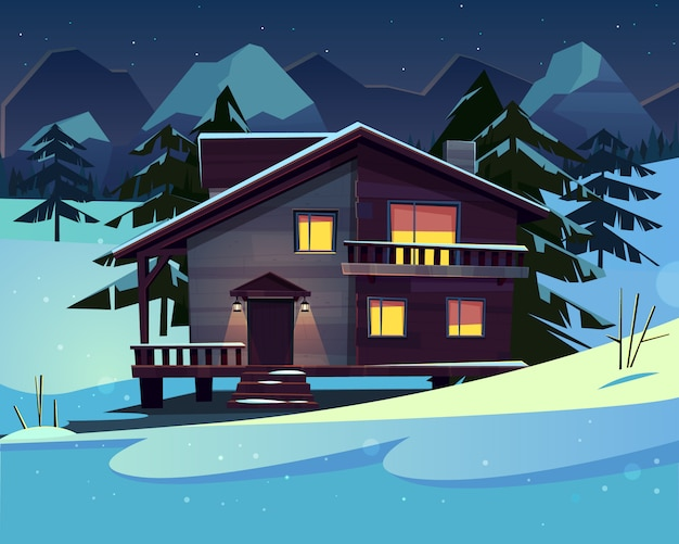 Vector cartoon background with a luxury hotel in snowy mountains at night. Free Vector