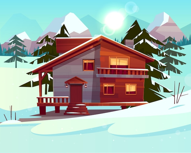 Vector cartoon background with a luxury hotel in snowy mountains Free Vector